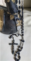 VIntage Rosary in Ebony and silver finish, made in France.