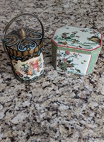 Daher English Peacock tin box Murray Allen basket