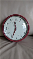 Geneva Clock company round red rim wall clock
