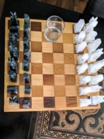 Onyx chess set with wooden handcrafted board