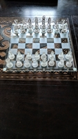Chess set in clear and frosted glass design