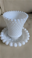 Hobnail design candle holder with Opalescent top