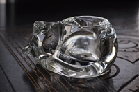 Clear crystal larger sleeping cat candleholder