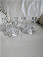 Vintage glass double candle holders in set of two