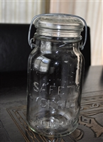 Glass jar with lid and wire bail