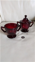 Ruby Red vintage glass sugar bowls