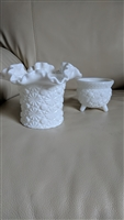 Fenton milk glass crimped top hot vase and bowl