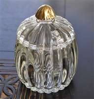 Glass ribbed design lidded jar gold accents