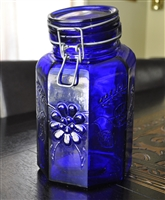 Italian Cobalt Blue glass container with lid