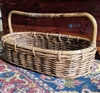Large wicker woven oval storage basket with handle