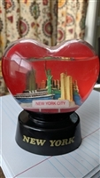 Snow globe with NY skyline and ferry vintage
