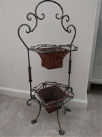 Iron and wicker flower pot