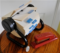 Retro Rolodex and metal stapler set