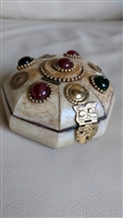 Jewelry storage box chest camel bone carving