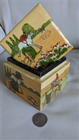 Equestrian decorative wooden storage box