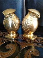 Vintage Brass Owls bookends