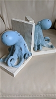Octopus bookend set in blue and white composite