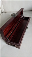 Dark cherry colored wood elegant box with brass