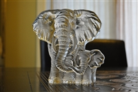 Crystal Elephants bookend paperweight