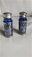 Cobalt blue cage encased salt and pepper shakers