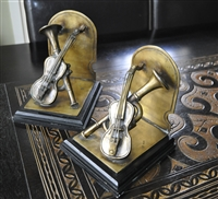 Bronze brass trumped and violin bookends