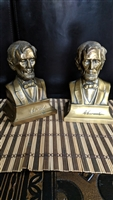 Lincoln bookends brass metal display
