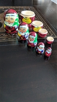 Santa wooden nesting doll with five figurines