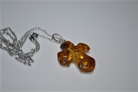 Amber pendant with Sterling chain 925