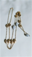 Multi beads necklace in satine gold tone finish