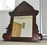 Bevelled glass wooden huge wall mirror