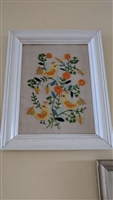 Birds and FLowers needlepoint work in wooden frame