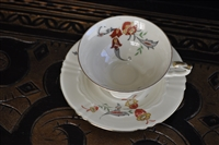 Floral design porcelain cup and saucer