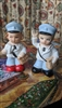 Mailman and woman porcelain salt and pepper shaker