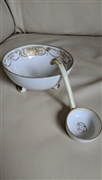 Antique Nippon mayonnaise footed bowl with ladle