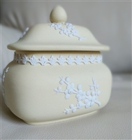 Yellow Jasperware lidded box from Wedgwood storage