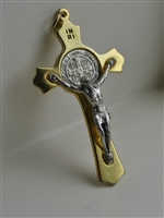 Pectoral crucifix with St Benedict's medal.