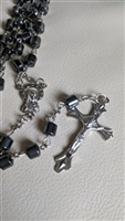 Shimmering Hematite tubes polished metal rosary