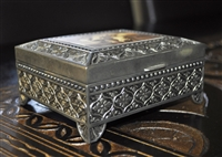 Vintage ornate metal, plated, jewelry box