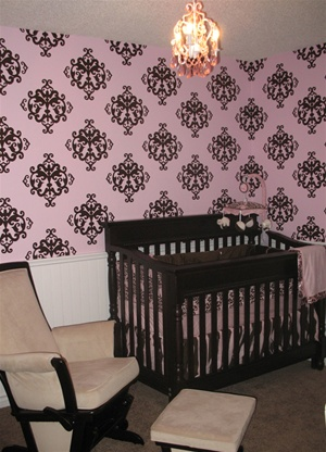 Ornate decorative damask pattern wall decals stickers