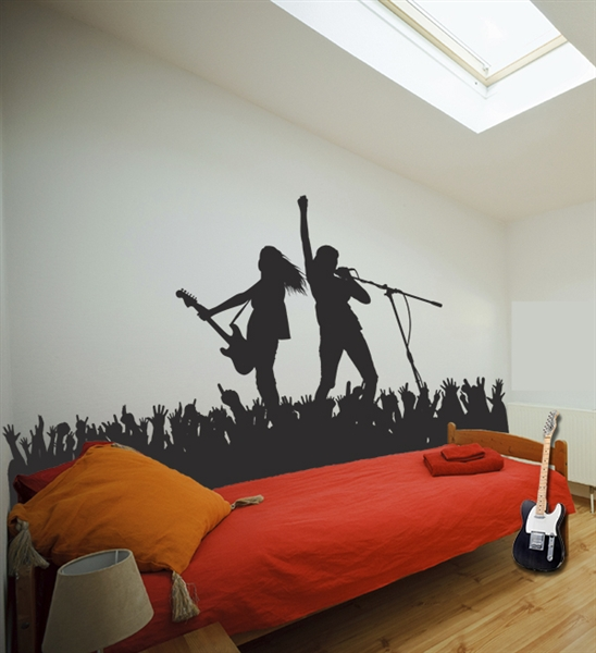 Rock pop singer music stage concert scene wall decals sticker for Concert wall mural