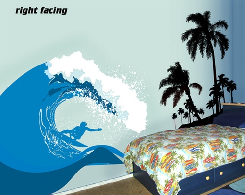surf 39 s up ocean wave wall decal sticker. Black Bedroom Furniture Sets. Home Design Ideas