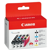 Canon CLI-8 Ink Tank Value Pack Black, Cyan, Magenta, Yellow for PIXMA MP500, MP530, Pro 9000