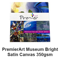 "Premier Museum Bright Satin Canvas 350gsm 8.5""x11"" - 20 Sheets"