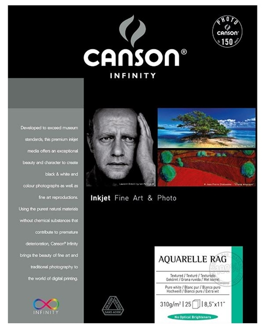 "CANSON INFINITY Arches Aquarelle Rag 310gsm 8.5""x11"" - 25 Sheets (ships from IL warehouse)"
