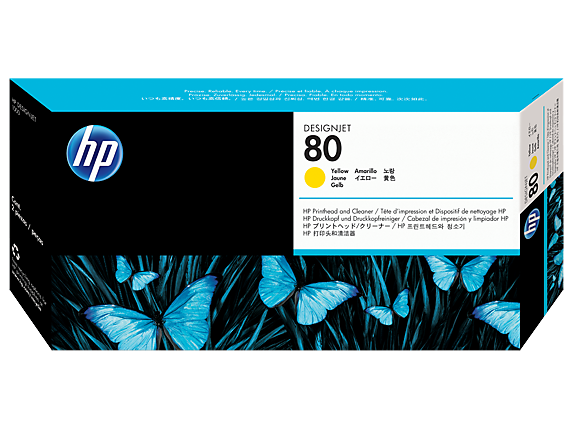 HP No. 80 Yellow printhead and printhead cleaner (HP C4823A)