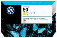 HP No. 80 Yellow Ink Cartridge (HP C4848A), 350 ml