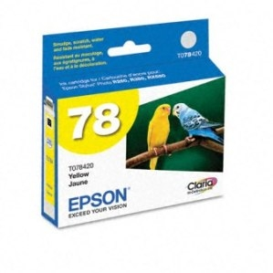 Epson 78 Claria Hi Definition Ink Yellow for Stylus Photo R260, Artisan R280, R380, RX580, RX595, RX6 - T078420