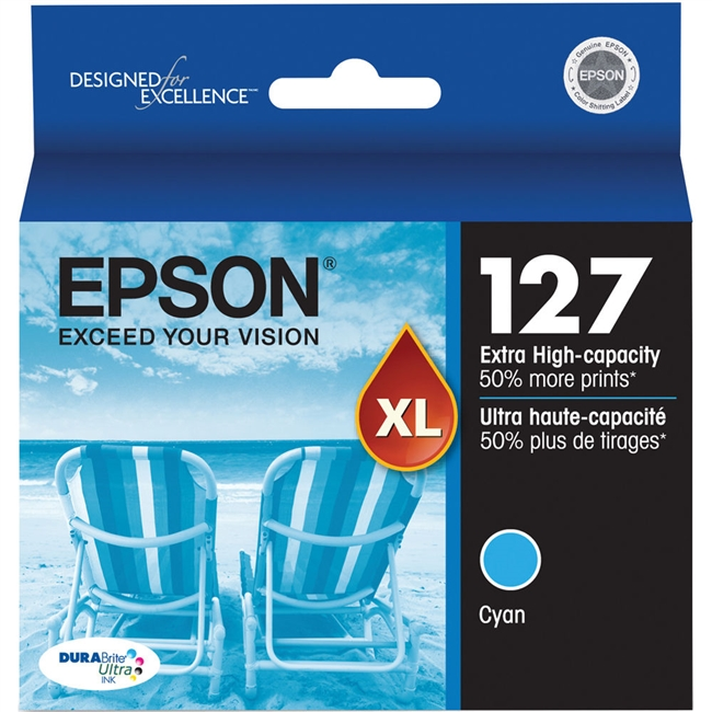Epson 127 Extra High Capacity DuraBrite Ultra Ink Cyan for Stylus NX625, Workforce 630, 633, 635 - T127220