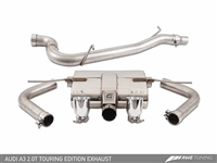 AWE Tuning Audi A3 Touring Edition Exhaust - Dual Outlet, Diamond Black 90 mm Tips