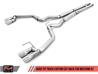 AWE Track Edition Cat-back Exhaust for 15-17 S550 Mustang GT - Quad Outlet - No Tips (GT350 Valance)